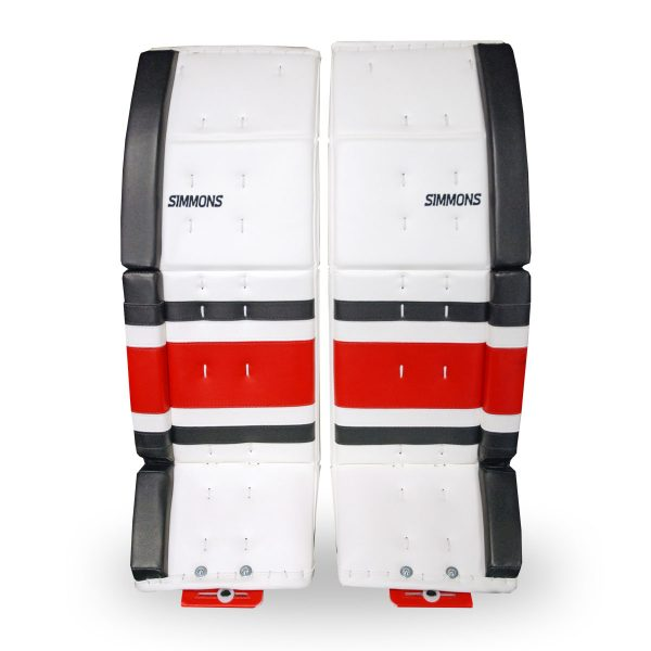 simmons-1000-goalie-pads-stripe-front-white-black-red