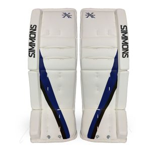 Simmons-ULX-Pro-Goalie-Pads-Front-White-Blue-Black