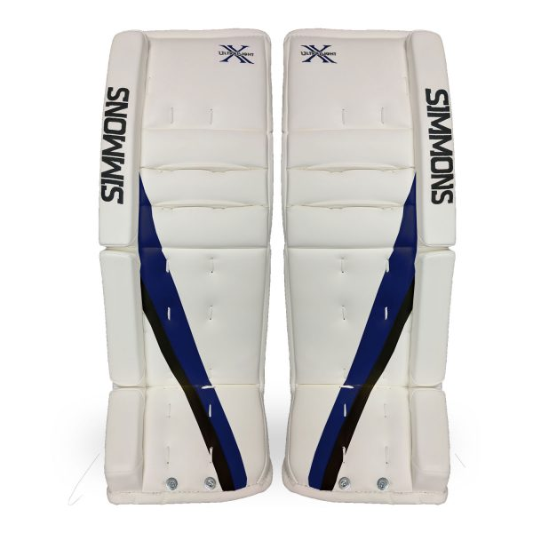 Simmons-ULX-Pro-Goalie-Pads-Front-White-Blue-Black